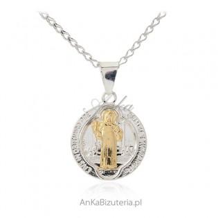 Medalik srebrny Św. Benedykt z pozłacany