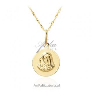 Medalik złoty z łańcuszkiem pr. 585 - Madonna