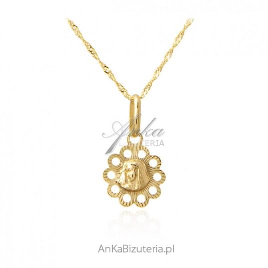 Złoto pr. 585 - Komplet Medalik Matka Boska z łańcuszkiem