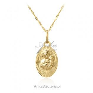 Złoty komplet pr. 585 - Matka Boska Częstochowska z łańcuszkiem