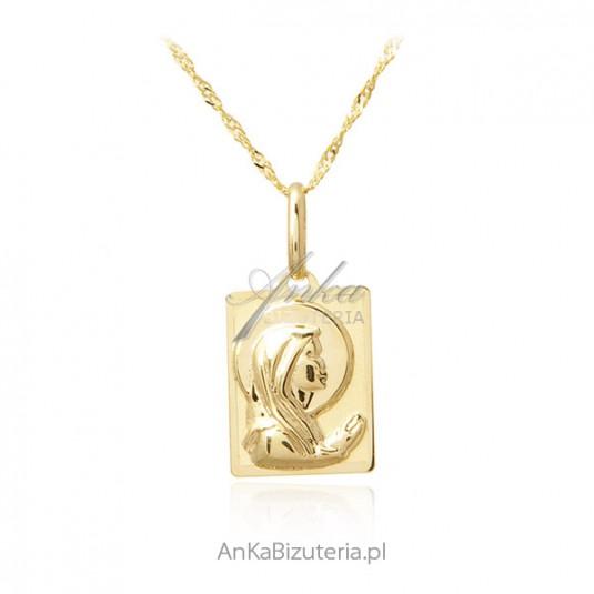 Złoty medalik z łańcuszkiem Matka Boska - próba 585
