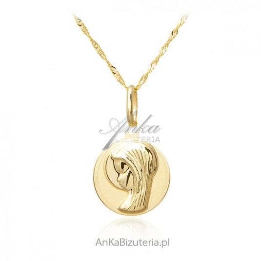 Złoty medalik Matka Boska z łańcuszkiem pr. 585