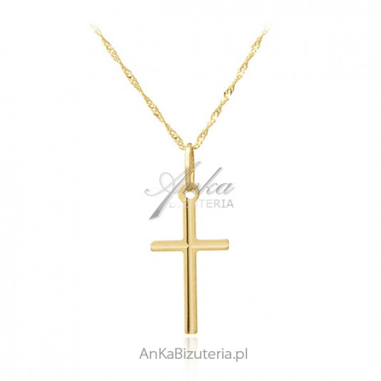 Złoty krzyżyk prosty - pr. 585 w komplecie z łańcuszkiem