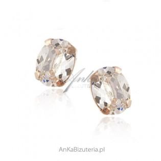 Kolczyki srebrne pozłacane z kryształami Swarovski