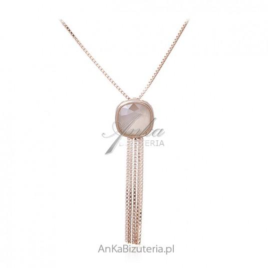 Naszyjnik srebrny pozłacany różowym złotem z kryształem Swarovski