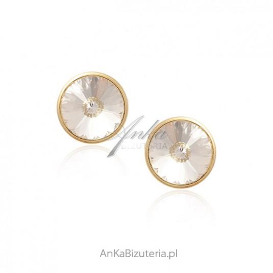 Kolczyki srebrne pozłacane z kryształem Swarovski CRISTAL