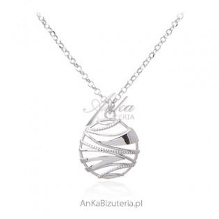 Srebrny naszyjnik ażurowe kółko - biżuteria włoska