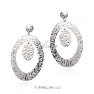 Duże srebrne kolczyki karbowane srebro