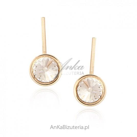 Kolczyki srebrne pozłacane różowym złotem z kryształami Swarovski CRYSTAL