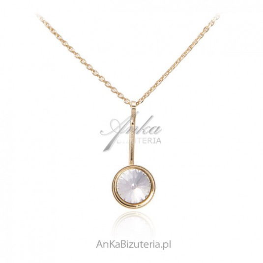 Srebrny naszyjnik pozłacany różowym złotem i kryształem Swarovski CRISTAL
