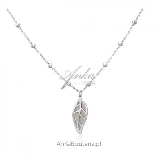 Naszyjnik srebrny LISTEK - modna biżuteria srebrna