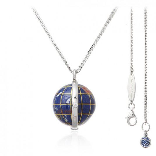 Naszyjnik srebrny GLOBUS z lapis lazuli - ręcznie malowany