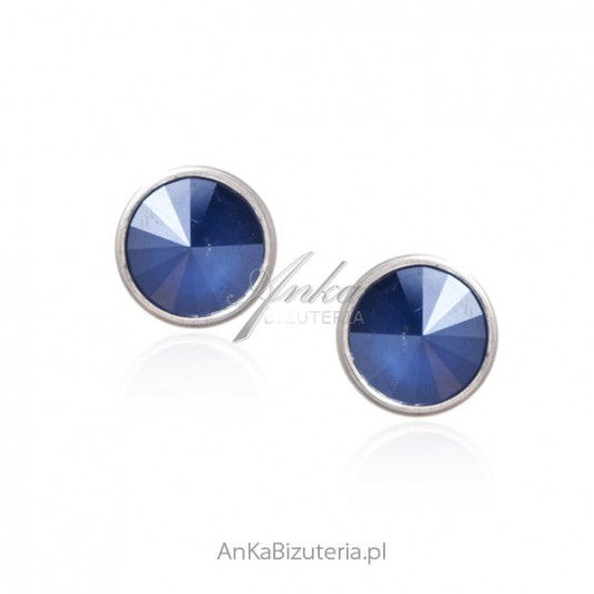 Biżuteria srebrna Swarovski - kolczyki srebrne kolor kryształu Cobalt