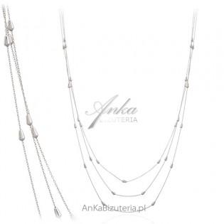 Efektowny Długi potrójny naszyjnik srebrny z sopelkami
