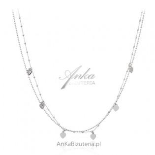 Srebrna biżuteria - naszyjnik srebrny SERCA -na podwójnym łańcuszku