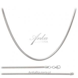 Srebrny łańcuszek rodowany gruba linka do większych wisiorków 50 cm