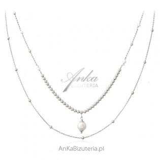 Srebrny naszyjnik z perełkami - elegancka biżuteria włoska
