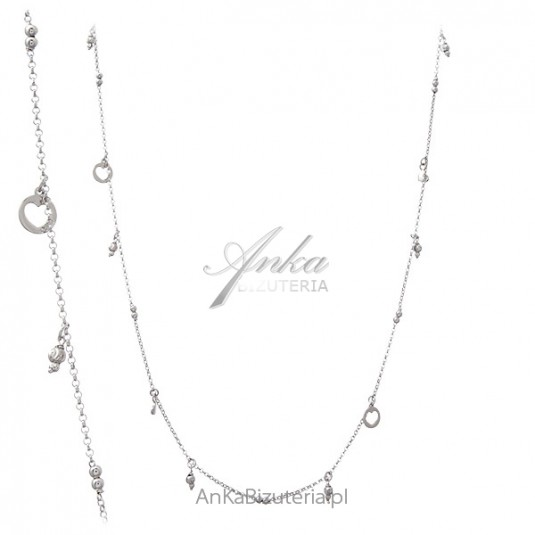 Srebrna biżuteria damska - naszyjnik srebrny długi z przywieszkami