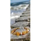 Korale z naturalnymi bursztynami bałtyckimi koniak, zielony i niezwykle rzadki biały bursztyn