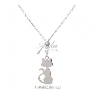 Srebrny naszyjnik z KOTKIEM śliczna włoska biżuteria