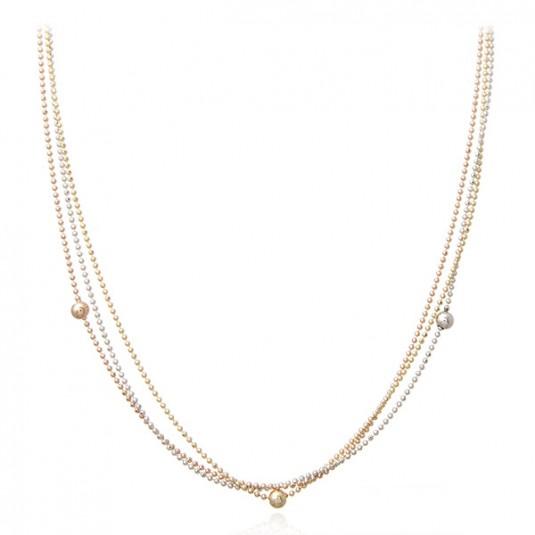 Biżuteria srebrna kolorowy naszyjnik kulkowy