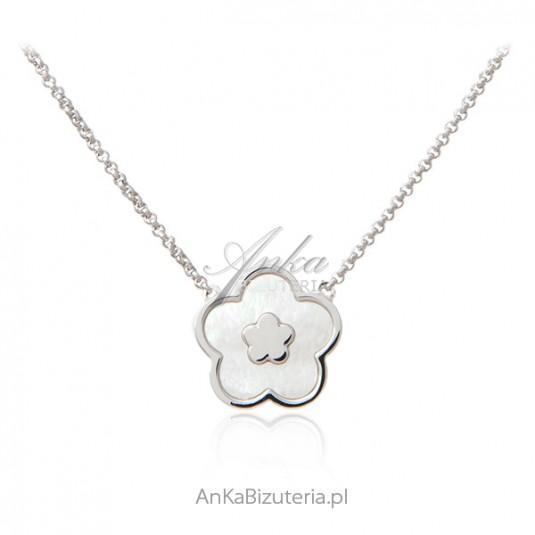 KONICZYNKA - Srebrny naszyjnik z masą perłową