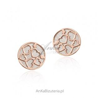 Srebrne kolczyki pozłacane różowym złotem W SERDUSZKA