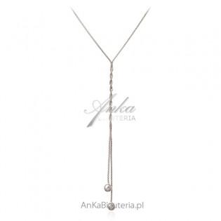 Srebrny naszyjnik długi krawat z kulkami