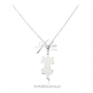 Srebrna biżuteria - naszyjnik srebrny z PIESKIEM - cudna biżuteria włoska