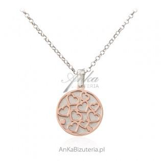 Srebrny naszyjnik pozłacany różowym złotem SERDUSZKA