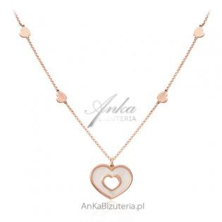 Naszyjnik srebrny pozłacany z białą masą perłową - SERCE