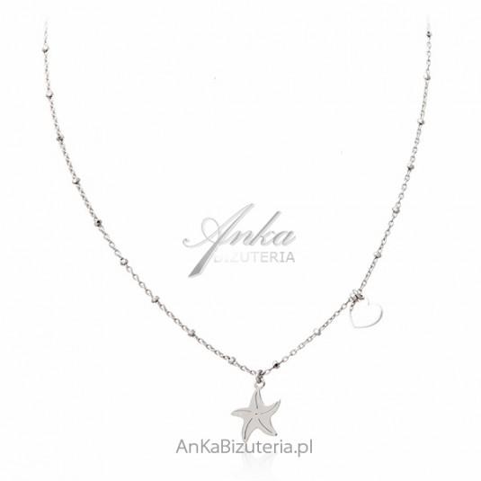 Biżuteria srebrna - Naszyjnik ROZGWIAZDA Z SERDUSZKIEM