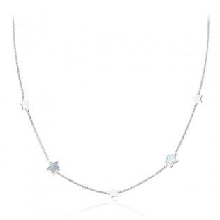 Srebrny naszyjnik GWIAZDKI z masą perłową
