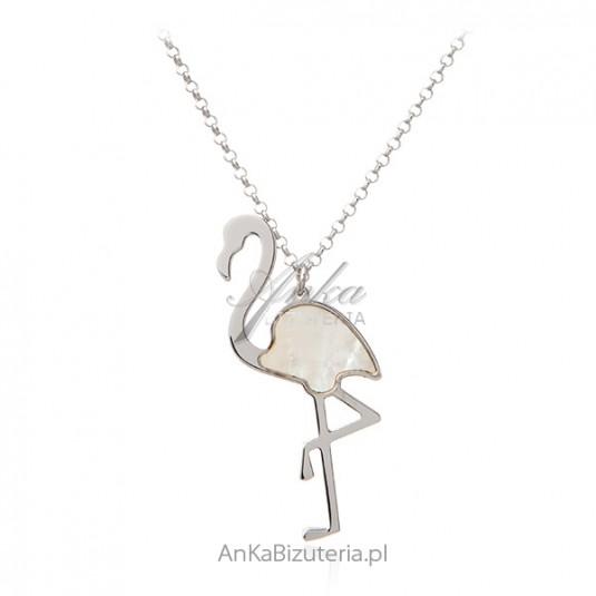 Biżuteria srebrna - naszyjnik FLAMING z białą masą perłową
