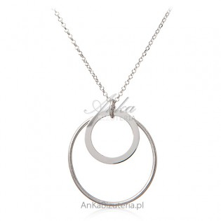 Biżuteria srebrna - Piękny naszyjnik srebrny z kółkami