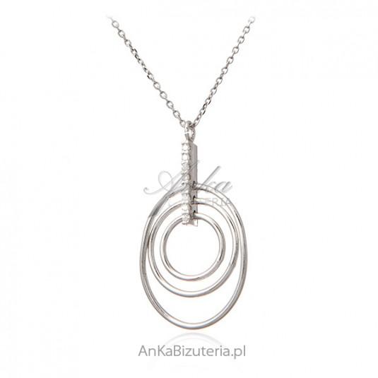 Elegancki naszyjnik srebrny z cyrkoniami