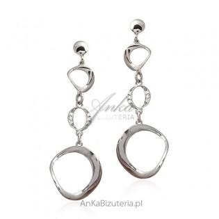 Kolczyki srebrne z cyrkoniami Biżuteria srebrna włoska