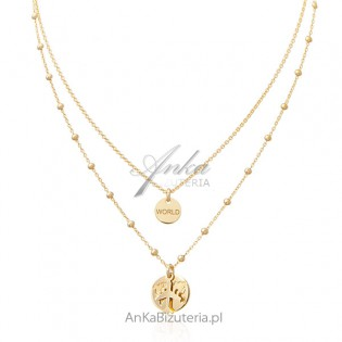 """Biżuteria srebrna - Naszyjnik srebrny pozłacany """"Around the World"""""""