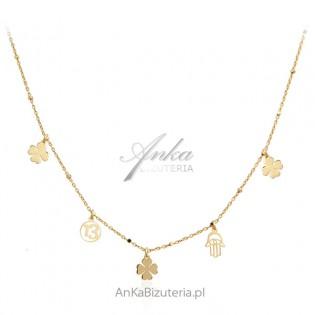 Srebrny naszyjnik pozłacany - Biżuteria na szczęście
