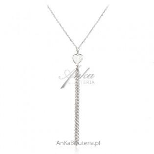 Srebrny naszyjnik SERDUSZKO z białą masą perłową
