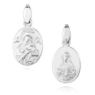 Srebrny medalik diamentowany Matka Boska Nieustającej pomocy / Serce Jezusa - dwustronny
