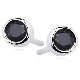 Kolczyki srebrne okrągłe z czarną cyrkonią