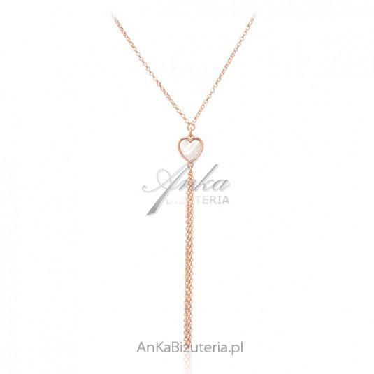 Srebrny naszyjnik pozłacany różowym złotem z masą perłową SERDUSZKO