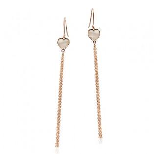 Srebrne kolczyki pozłacane różowym złotem z masą perłową