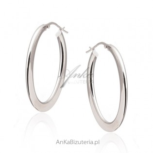 Kolczyki srebrne OWALNE kółka - biżuteria srebrna włoska