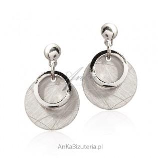 Kolczyki srebrne satynowane kółka