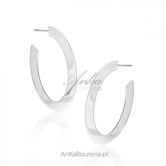 10915526ea443f Kolczyki srebrne owalne koła szerokie - Oryginalne Modna biżuteria