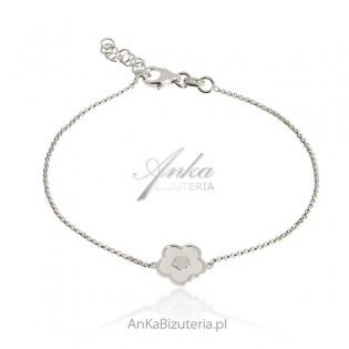 Bransoletka srebrna KONICZYNKA z białą masą perłową