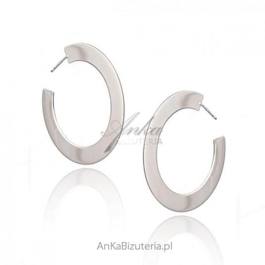 Kolczyki srebrne szerokie oryginalne koła