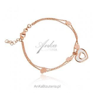 Srebrna bransoletka pozłacana różowym złotem z białą emalią